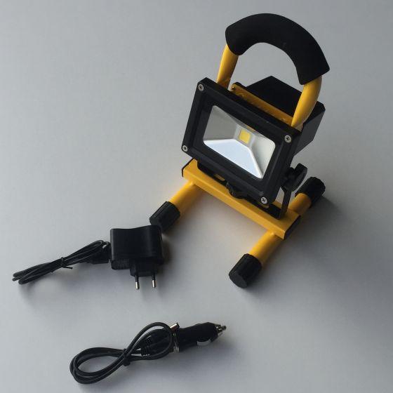Led 10w  projektør / arbejdslampe med genopladeligt batteri. 1000 lumen