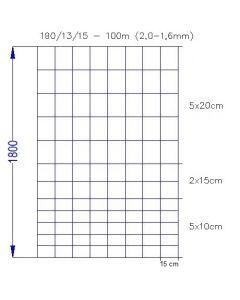 Vildthegn 180/13/15 HT rulle af 100 meter.