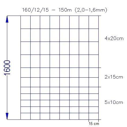 Vildthegn 160/12/15 HT rulle af 150 meter.